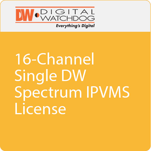 DW-SPCP16LSC016 DIGITAL WATCHDOG Single DW Spectrum IPVMS License - allows up to 16-channels of recording when used with DW-CPUHD16 and DW-CP16 / No Annual Renewal, No Upgrade Required ************************* SPECIAL ORDER ITEM NO RETURNS OR SUBJECT TO RESTOCK FEE *************************