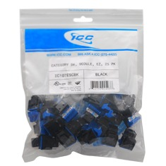 IC107F5CBK ICC MODULE, CAT 5e, HD, 25 PK, BLACK ************************* SPECIAL ORDER ITEM NO RETURNS OR SUBJECT TO RESTOCK FEE *************************