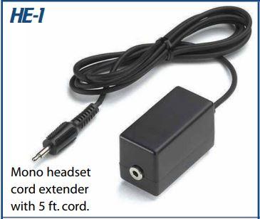 VEC-HE1 VEC MONO HEADSET EXTENDER W/ 5' CORD