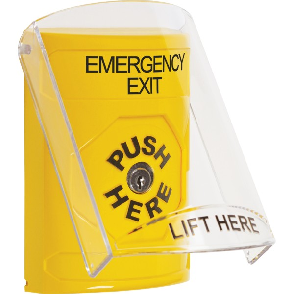 "STI-SS2220EX-EN STI YELLOW STOPPER STATION, 2517 SHIELD, KEY TO RESET, LABELED ""EMERGENCY EXIT"", ENGLISH ************************* SPECIAL ORDER ITEM NO RETURNS OR SUBJECT TO RESTOCK FEE *************************"
