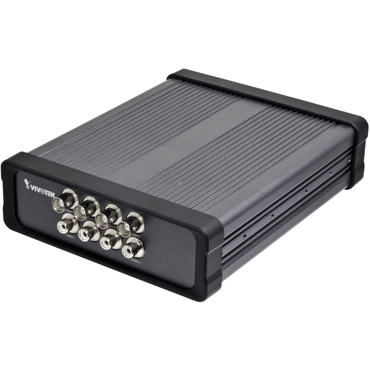 VS8401 VIVOTEK 4-ch H.264/MPEG-4/MJPEG video server, Up to 30 fps in D1 Resolution, 8-CH Video and Audio In, Two-way Audio via SIP Protocol (Per Channel), 8 DI/DO, RS-485, SD/SDHC Card Slot, DC 12V / AC 24V Compatible, Professional Rack Mount Compatible Design