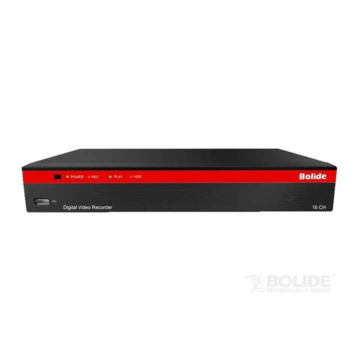 SVR9316H BOLIDE 16-Channel 1080P HD / IP DVR, Compatible with AHD, TVI, CVI, Analog, and Additional 8 2MP IP Cameras, HDMI, VGA, 4 Audio In, 1 Audio Out, with Quick Connect