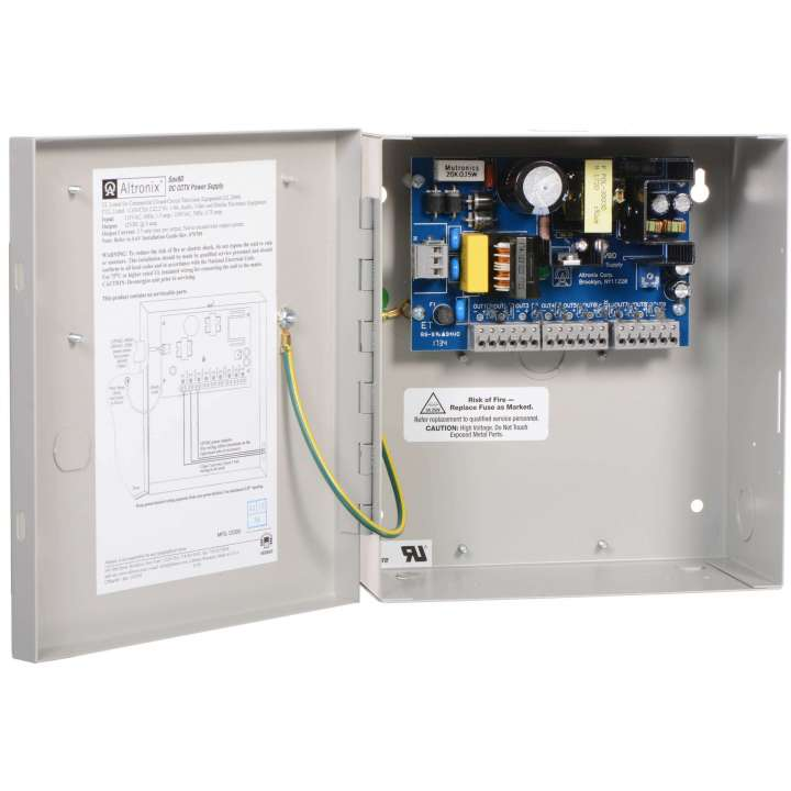 """SAV9D ALTRONIX 9 OUTPUT CCTV POWER SUPPLY - 12VDC @ 5 AMP, PTC OUTPUTS, FIELD INSTALLABLE GROUNDED LINE CORD, ENCL 8.5""""H X 7.5""""W X 3.75""""D, 115/230VAC INPUT UL LISTED (UL2044), CUL LISTED"""