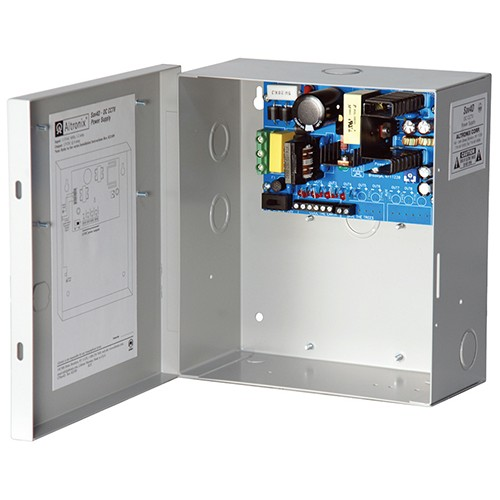 """SAV4D ALTRONIX 4 OUTPUT CCTV POWER SUPPLY - 12VDC @ 5 AMP, PTC OUTPUTS, FIELD INSTALLABLE GROUNDED LINE CORD, ENCL 8.5""""H X 7.5""""W X 3.75""""D, 115/230VAC INPUT UL LISTED (UL2044), CUL LISTED"""