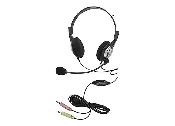 AND-C1-1022500-50 ANDREA NC-185VM ON-EAR STEREO COMPUTER HEADSET WITH NOISE-CANCELING MICROPHONE, IN-LINE VOLUME/MUTE CONTROLS, AND DUAL COLOR CODED 3.5MM PLUGS IN RETAIL PACKAGING