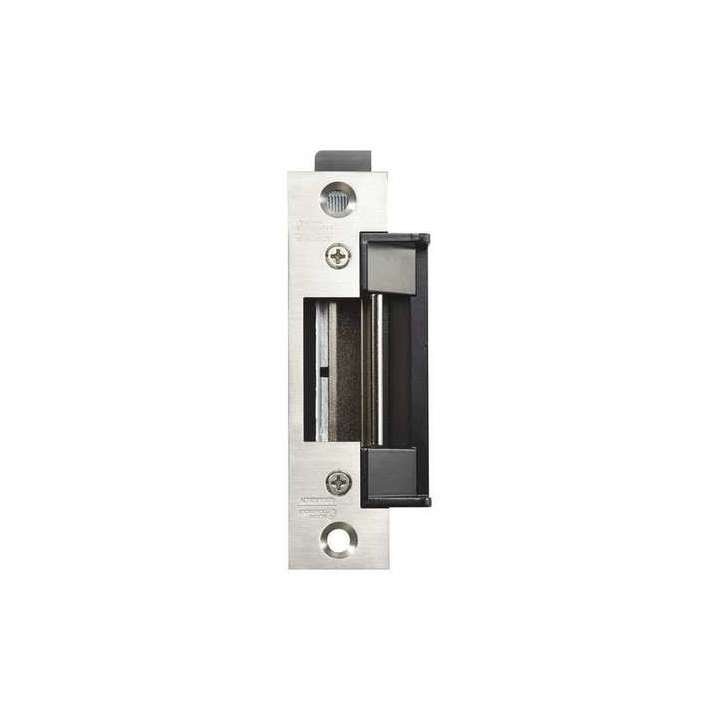 "AES-100 ALARM CONTROLS BHMA Grade 1 Dual Voltage Electric Strike,field selectable fail secure/fail safe operation. Deep latch cavity accommodates cylindrical locksets with a 5/8"" to 3/4"" throw in steel, wood or aluminum frames"