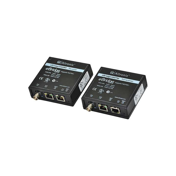 EBRIDGE100RMT ALTRONIX Ethernet over Coax/CAT5e Adapter Kits transmit full duplex data at 100mbps and pass PoE compliant power over coax 304m (1000 ft), or CAT5e cable up to 500m (1640 ft) without repeaters. The adapter kit consists of an eBridge100RM receiver and an eBridge100TM transceiver. These adapters, along with the connected IP camera or edge device, is powered by virtually any midspan or endspan.