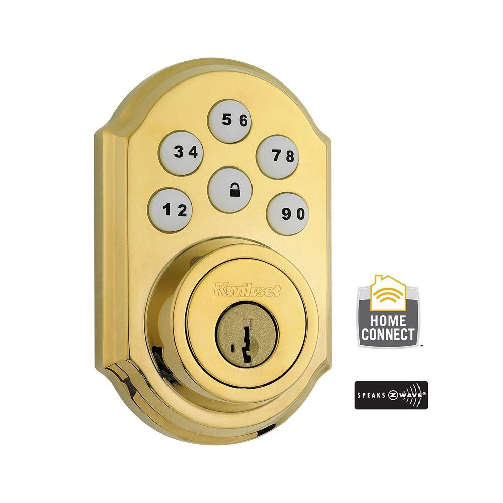 99100-077 Kwikset SmartCode Z-Wave Deadbolt Polished Brass