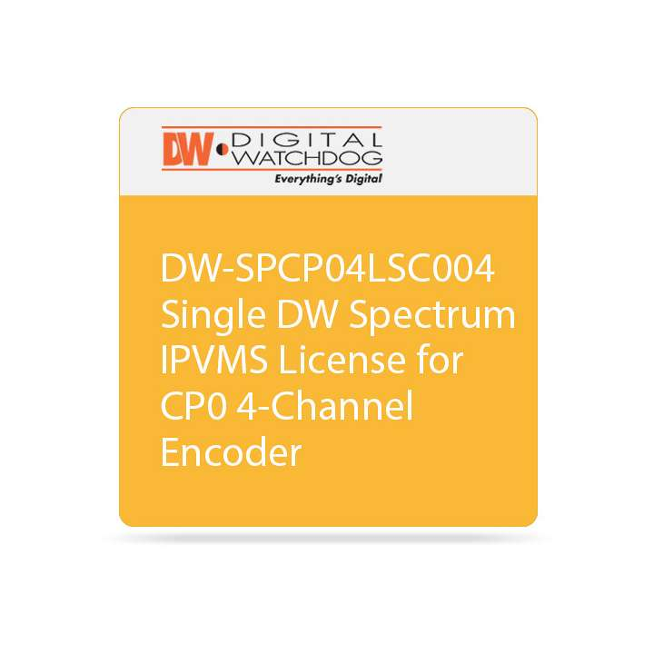 DW-SPCP04LSC004 DIGITAL WATCHDOG Single DW Spectrum IPVMS License - allows up to 4-channels of recording when used with DW-CP04 / No Annual Renewal, No Upgrade Required ************************* SPECIAL ORDER ITEM NO RETURNS OR SUBJECT TO RESTOCK FEE *************************