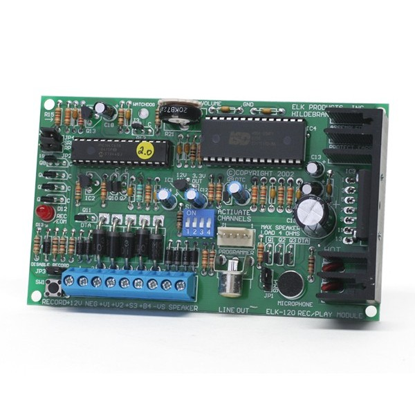 ELK120 ELK MULTI CHANNEL RECORDABLE VOICE MODULE AND SIREN UP TO 4 CHANNELS AND 8 MINUTES OF RECORD TIME ************************* SPECIAL ORDER ITEM NO RETURNS OR SUBJECT TO RESTOCK FEE *************************