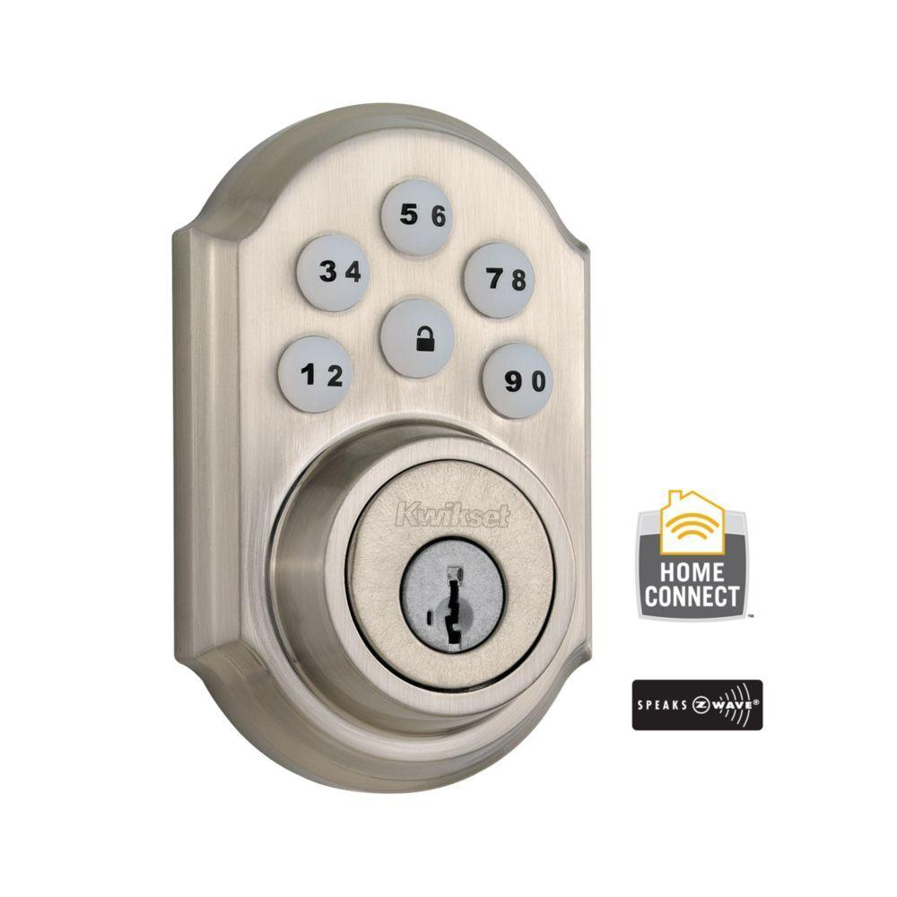 99100-078 KWIKSET SATIN NICKEL TRADITIONAL STYLE DEADBOLT Z-WAVE