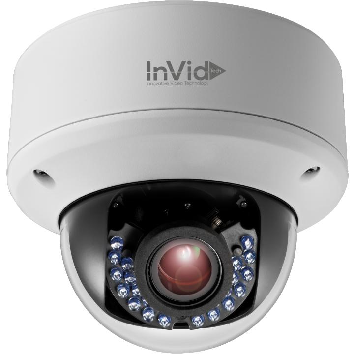 ULT-P4DRIRM2812 INVID 4 Megapixel IP Plug & Play Rugged Dome, 2.8-12mm Motorized Lens, 60' IR Range, PoE/DC12V, SD Card Slot