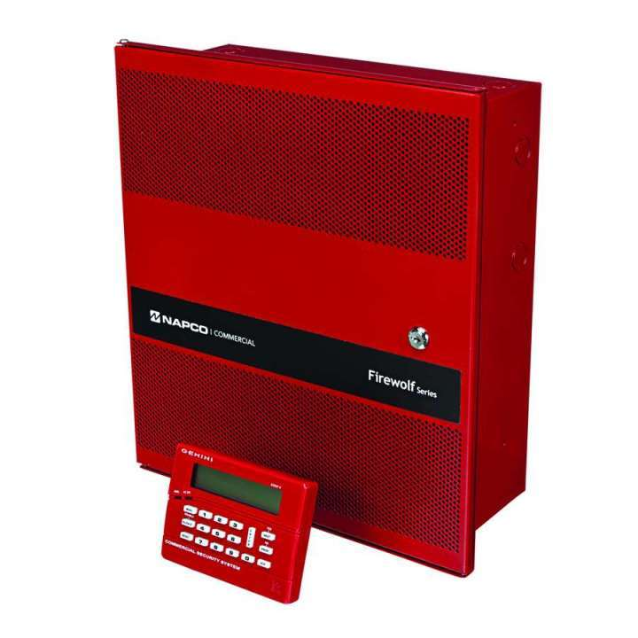 "GEMC-FW-32CNVKT NAPCO ""GEM-C 32 Zone Conventional Commercial Fire Alarm Panel Kit, includes: - Small 14x16 Mercantile Grade Red Enclosure - GEMC-PS24V4A-R 4Amp,24V Power Supply - GEMC-F8ZCPIM Conventional (8)zone 2-wire fire input module. - GEMC-FK1 Red LCD Fire Keypad"""