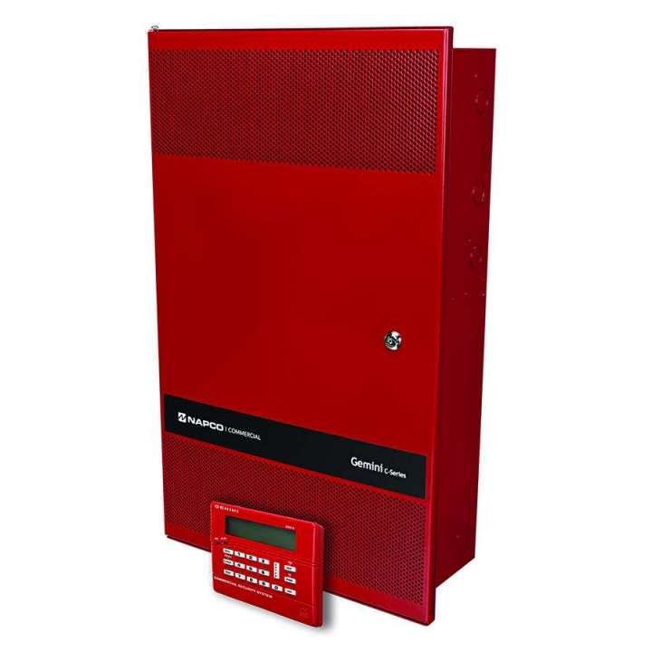 GEMC-COMBO255KT NAPCO GEMC 255 Point Commercial Combo Fire and Burglar Alarm Panel Kit includes: Large 14x25 Mercantile Grade Red Enclosure GEMC-PS24V7A-R 7Amp,24V Power Supply GEMC-BM/PS Burg Module with Power Supply GEMC-FW-SLC 128 Point Addressable Fire SLC Module GEMC-FK1 Red LCD Fire Keypad