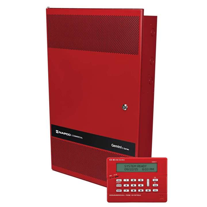 "GEMC-COMBO128KT NAPCO ""GEMC 128 Point Commercial Combo Fire and Burglar Alarm Panel Kit, includes: Large 14x25 Mercantile Grade Red Enclosure - GEMC-PS24V7A-R 7Amp,24V Power Supply GEMC-BM/PS Burg Module, with Power Supply, provides isolated 4-wire Burg bus, plus independent Burg Bell output. Provides complete separation of Fire and Burg power, plus Burg battery charger to allow independent Burg standby operation in case of power failure. - GEMC-FW-SLC 128 Point Addressable Fire SLC Module GEMC-FK1 Red LCD Fire Keypad"""