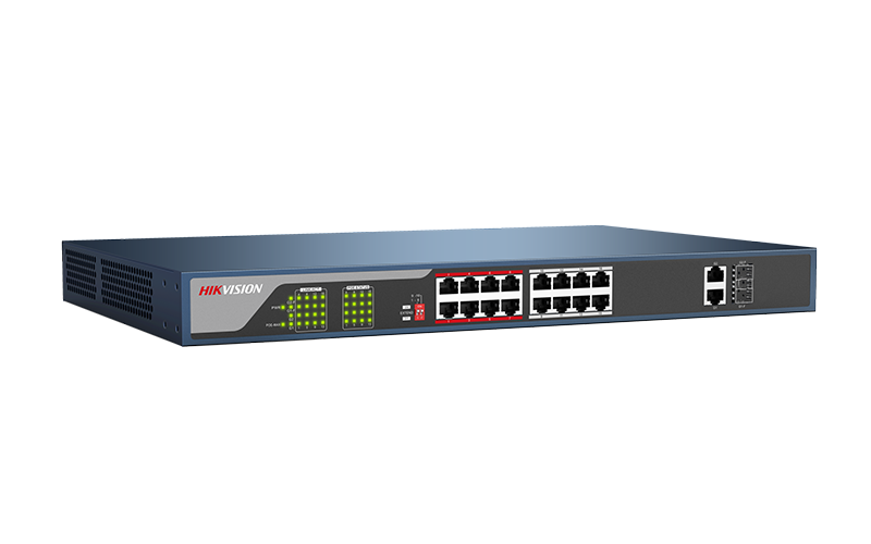 """DS-3E0318P-E/M HIKVISION L2, Unmanaged, 16 100M PoE port, 1 1000M RJ45, 1 1000M SFP, 802.3af/at, PoE power budget 135W, """"Extend"""" Mode: Port 9-16, max. 250m long distance transmission ************************* SPECIAL ORDER ITEM NO RETURNS OR SUBJECT TO RESTOCK FEE *************************"""