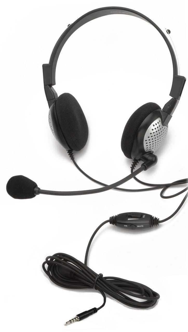 AND-C1-1022400-25 ANDREA NC-185M ON-EAR STEREO MOBILE HEADSET WITH NOISE-CANCELLING MICROPHONE, IN-LINE VOLUME/MUT CONTROLS, AND A SINGLE 3.5MM 4-PIN SHARED AUDIO PLUG