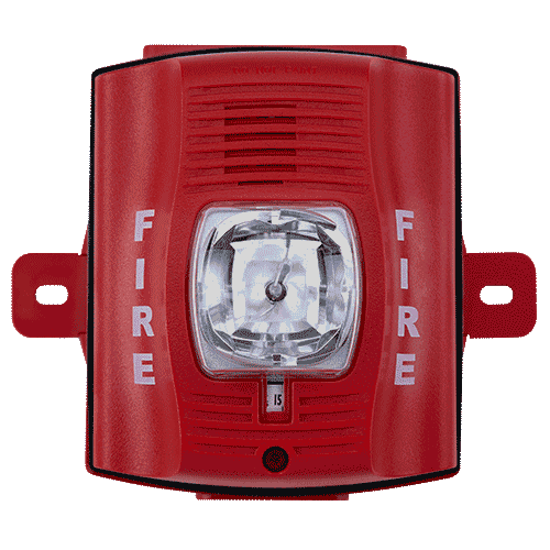 P2RK SYSTEM SENSOR 2 WIRE HORN/STROBE WALL STANDARD CANDELA RED OUTDOOR - INCLUDES BACK BOX