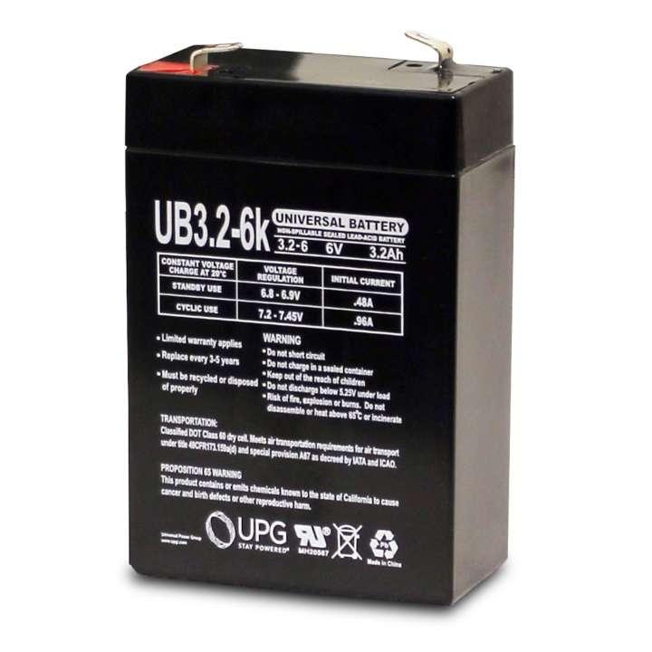 UB632 UPG 6 VOLT 3.2AH SEALED LEAD ACID BATTERY D5695