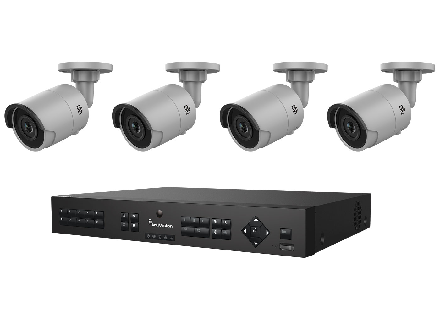 TVN-1104-KB1 INTERLOGIX HD H.265 PLUG-AND-PLAY POE SURVEILLANCE BUNDLE CONTAINS 1- 4-CHANNEL REAL-TIME 4-POE PORT HD NVR WITH 1TB AND 4 INDOOR-OUTDOOR HD 3 MPXL IR BULLET CAMERAS. CONTENTS: 1 x TVN-1104cS-1T 4 x TVB-5501 4mm 3Mpx bullet H.265 ************************* SPECIAL ORDER ITEM NO RETURNS OR SUBJECT TO RESTOCK FEE *************************