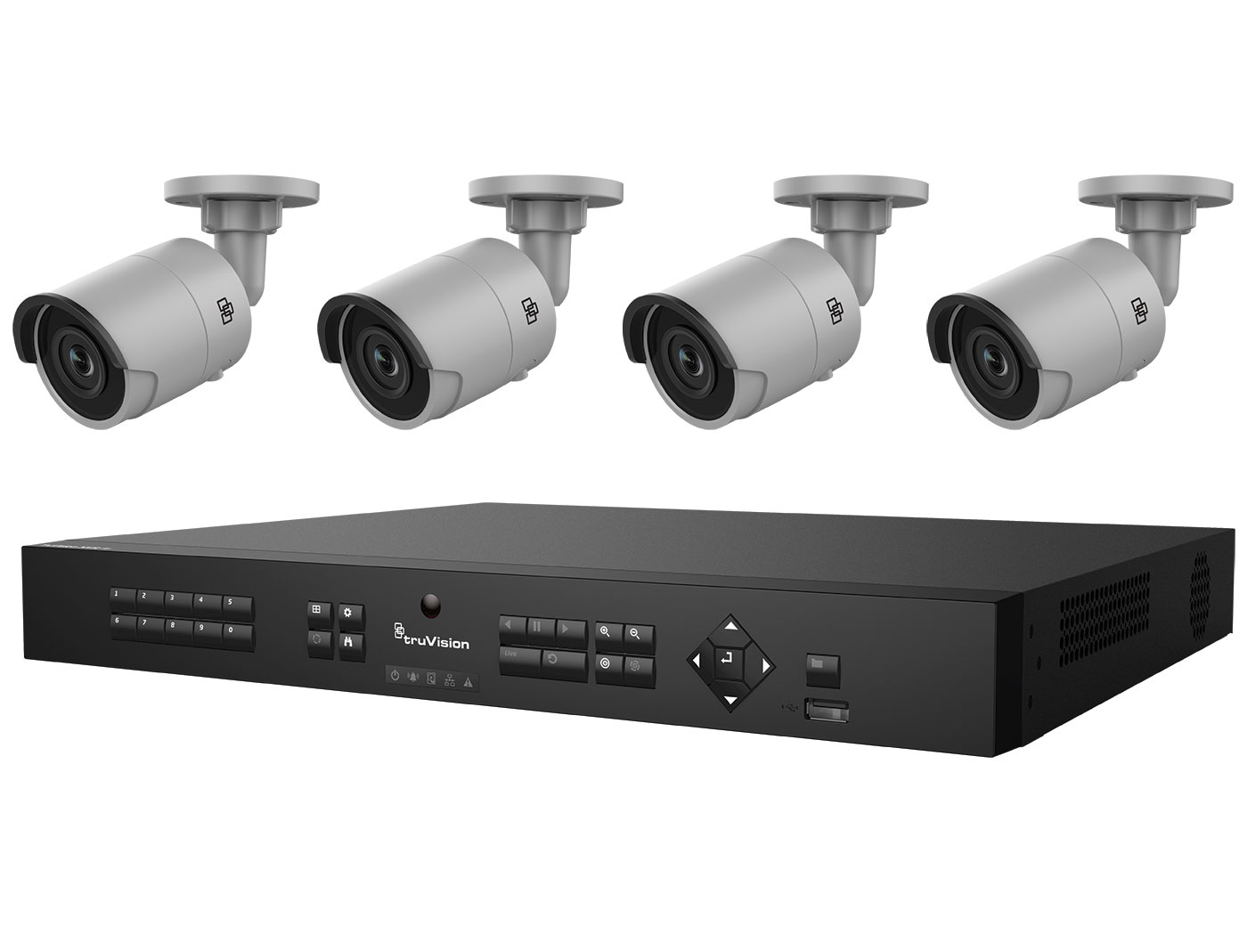 TVN-1108-KB1 INTERLOGIX HD H.265 PLUG-AND-PLAY POE SURVEILLANCE BUNDLE CONTAINS 1- 8-CHANNEL REAL-TIME 8-POE PORT HD NVR WITH 2TB AND 4 INDOOR-OUTDOOR HD 3 MPXL IR BULLET CAMERAS. CONTENTS: 1 x TVN-1108S-2T 4 x TVB-5501 4mm 3Mpx bullet H.265 ************************* SPECIAL ORDER ITEM NO RETURNS OR SUBJECT TO RESTOCK FEE *************************