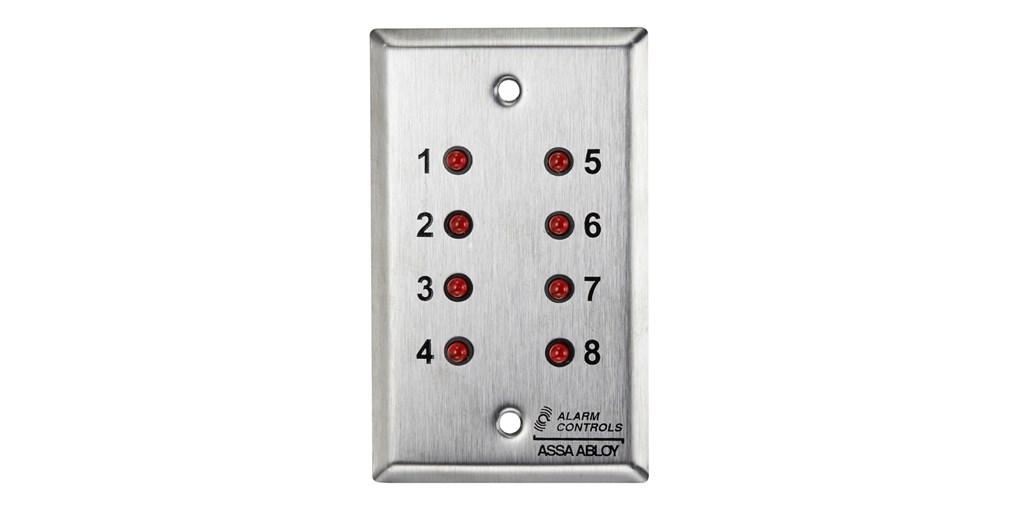 """CP1-1352 ALARM CONTROLS DOUBLE GANG PLATE WITH 8 1/4"""" RED LED'S, NUMBERED 1-8, 24VDC ************************* SPECIAL ORDER ITEM NO RETURNS OR SUBJECT TO RESTOCK FEE *************************"""