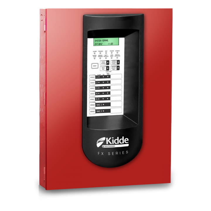 EDFX-5RD EDWARDS FIREWORX FIRE ALARM CONTROL PANEL FX CONVENTIONAL 5-ZONE 2 NAC'S UD DIALER 24VDC RED