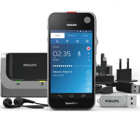 PSP-PSP2100/00 PHILIPS SPEECHAIR 2 SMART VOICE RECORDER, Docking Station, Earphones & USB Cables