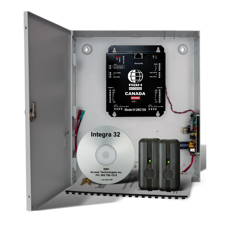 RBH-INT-UNC100-122S RBHUSA Integra UNC100 HYBRID EDGE wall mount, 2 door controller (includes: Integra32 64 door software, wall mount enclosure, power supply & transformer) ************************* SPECIAL ORDER ITEM NO RETURNS OR SUBJECT TO RESTOCK FEE *************************