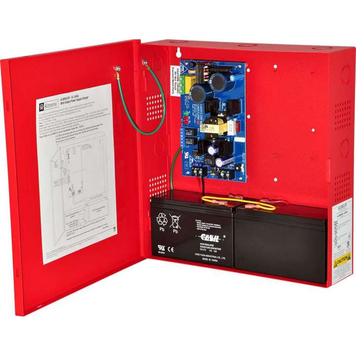AL400ULXR ALTRONIX UL LISTED FIRE, BURG, ACCESS CONTROL POWER SUPPLY IN LARGE RED ENCLOSURE 12/24VDC