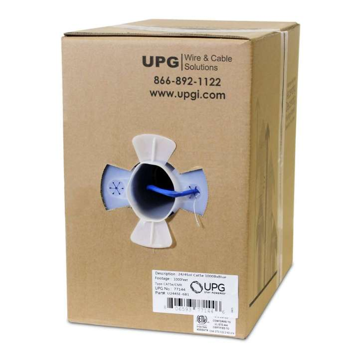 U2445E-6B1 UPG 24/4 pair solid .51mm copper, Cat5e 350 MHz NEC 800-UL CMR OR ETL, Blue Jacket 1000' Box UPG# 77144 ************************* SPECIAL ORDER ITEM NO RETURNS OR SUBJECT TO RESTOCK FEE *************************