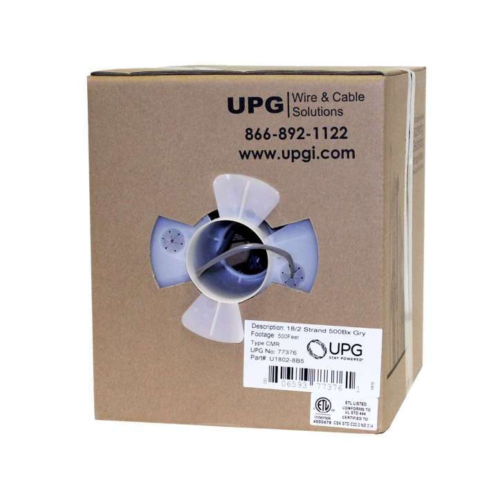 U1802-8B5 UPG 18/2 conductor (7/26) jacketed UL NEC 800 or ETL listed Type CM or CL2 Grey 500' Box 77376 ************************* SPECIAL ORDER ITEM NO RETURNS OR SUBJECT TO RESTOCK FEE *************************