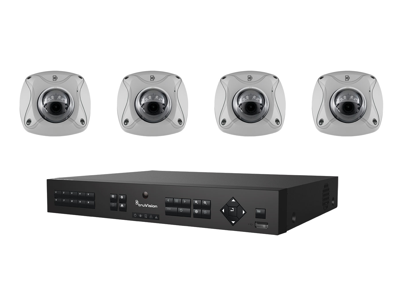 TVN-1104-KW2 INTERLOGIX 4-Channel NVR w/4 2MPx (2.8mm) IR Wedge Cameras Video Kit ************************* SPECIAL ORDER ITEM NO RETURNS OR SUBJECT TO RESTOCK FEE *************************