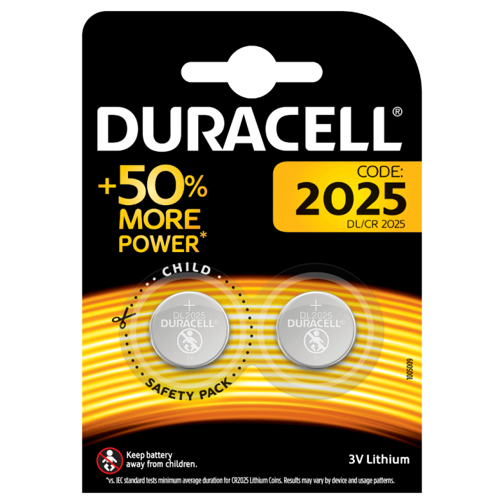 DUR-CR2025-2PK DURACELL COMP31 3V FLAT LITHIUM BATTERY - USE IN WS4939