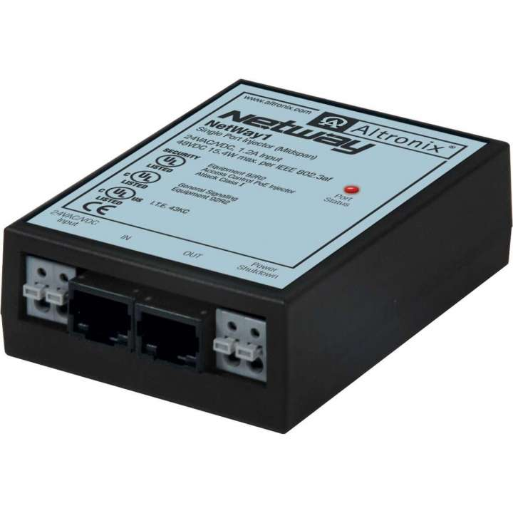 NETWAY1 ALTRONIX SINGLE PORT POE INJECTOR 15.4W IEEE UL W/ SHUTDOWN FEATURE