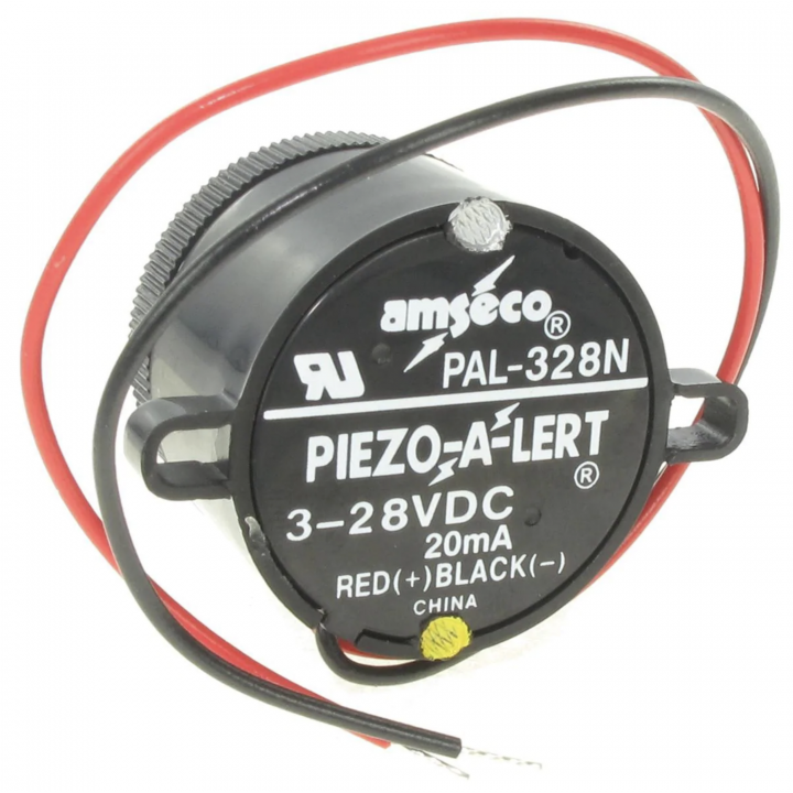 PAL-328N POTTER PIEZO ALERT WITH NUT OPERATES ON 3-28VDC WIRE LEADS TYPE (SOLD 20 PER PACK)