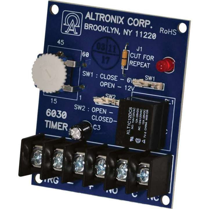 "AL6030 ALTRONIX PROGRAMMABLE TIMER MODULE 6/12VDC (1 SEC TO 1 HR) 5AMP/120VAC FORM ""C"" CONTACTS ************************* SPECIAL ORDER ITEM NO RETURNS OR SUBJECT TO RESTOCK FEE *************************"
