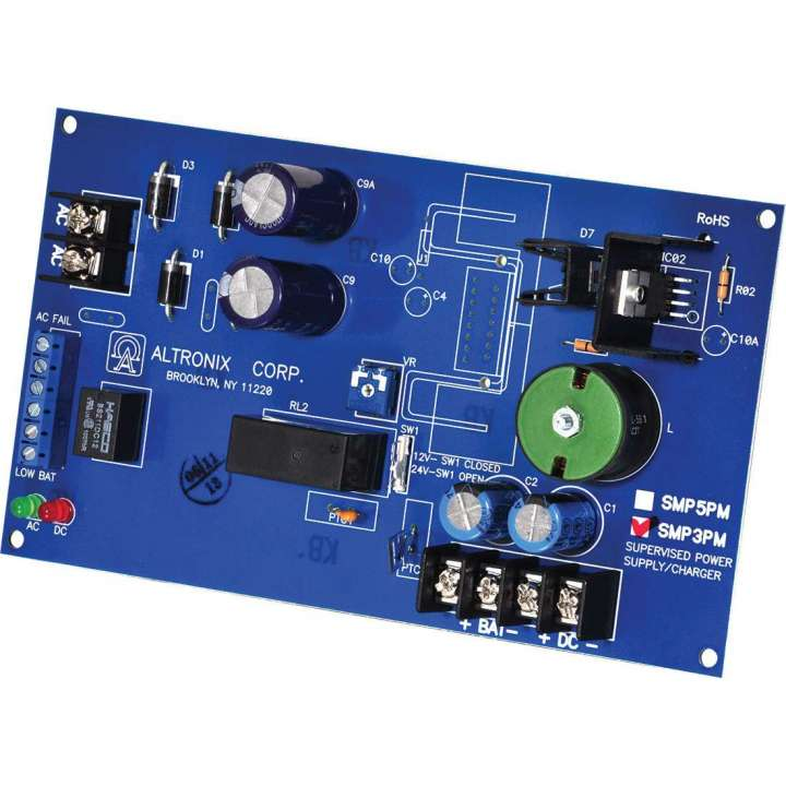 SMP3PM ALTRONIX SUPERVISED POWER SUPPLY 12/24VDC AT 2.5AMP ZERO VOLTAGE DROP ON BATTERY BACKUP (BOARD ONLY) ************************* SPECIAL ORDER ITEM NO RETURNS OR SUBJECT TO RESTOCK FEE *************************