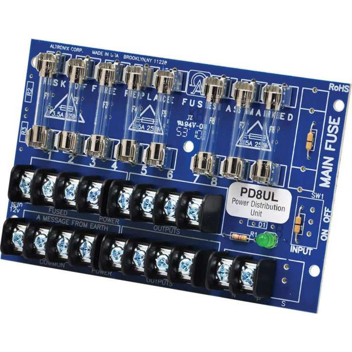 PD8UL ALTRONIX 8 Output Power Distribution Module - Converts AC or DC power input (28 volts @ 14 amp max.) into eight (8) fused power outputs, UL Recognized. ************************* SPECIAL ORDER ITEM NO RETURNS OR SUBJECT TO RESTOCK FEE *************************