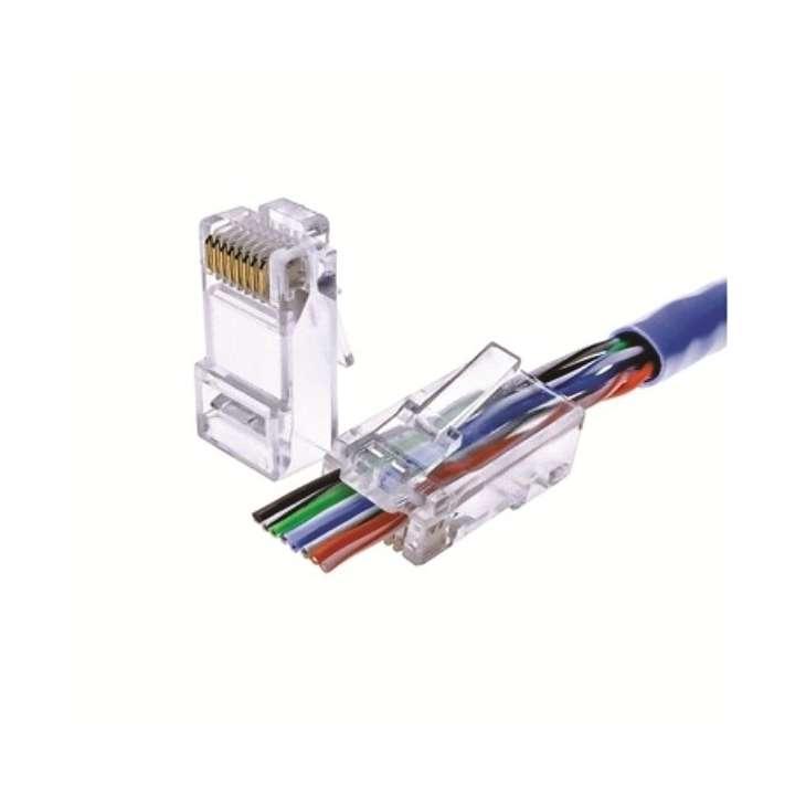 72-495C-100 CALRAD CAT5E PASS THRU CONNECTOR 100PK